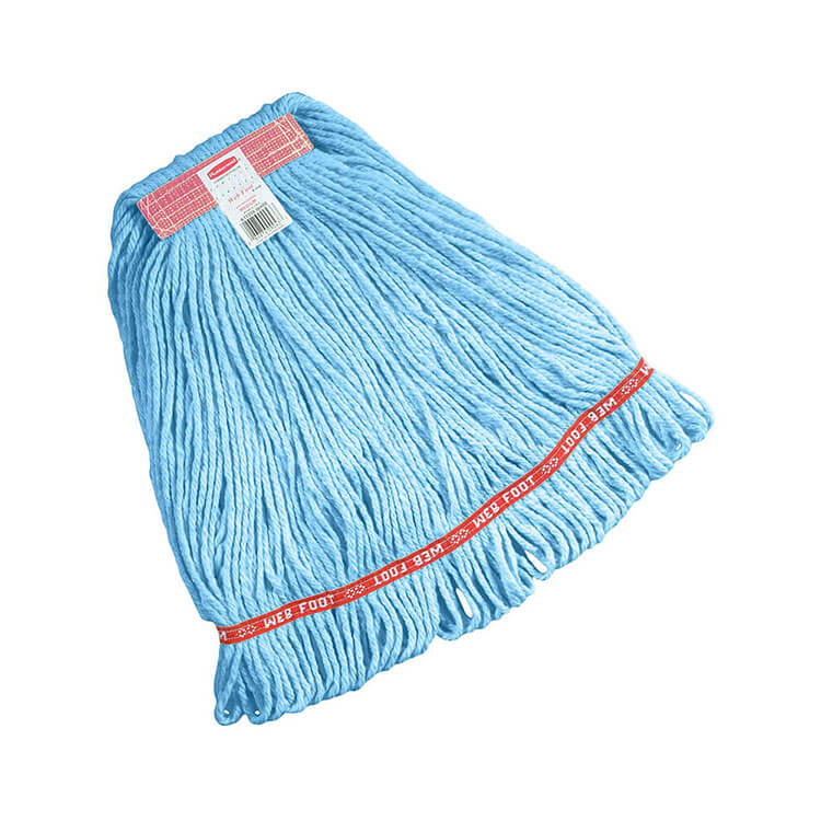 """Rubbermaid FGC11106 BL00 Looped-End Small Wet Mop Head - 1"""" Headband, 4-Ply Cotton/Synthetic, Blue"""