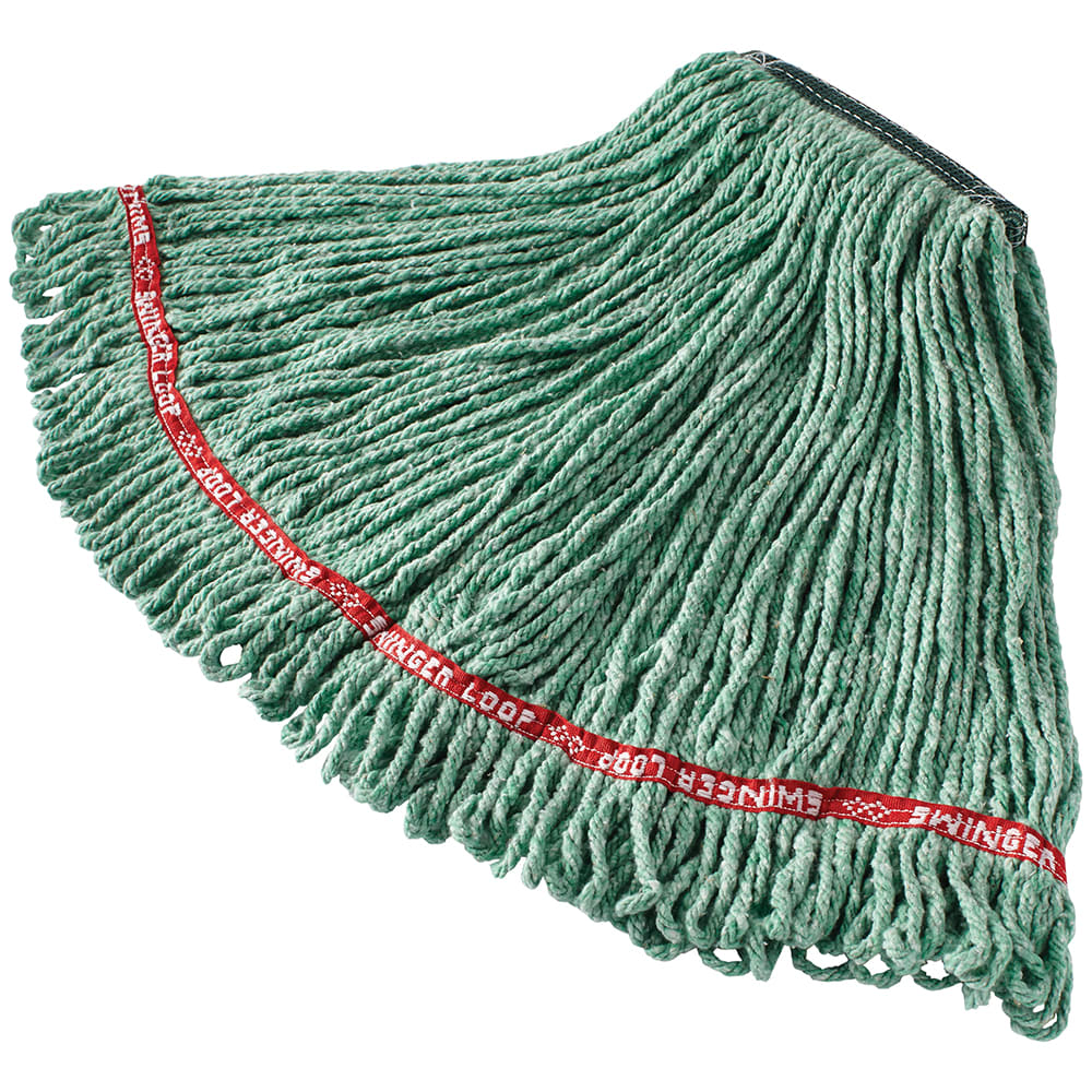 "Rubbermaid FGC11206GR00 Looped-End Medium Wet Mop Head - 1"" Headband, 4 Ply Cotton/Synthetic, Green"