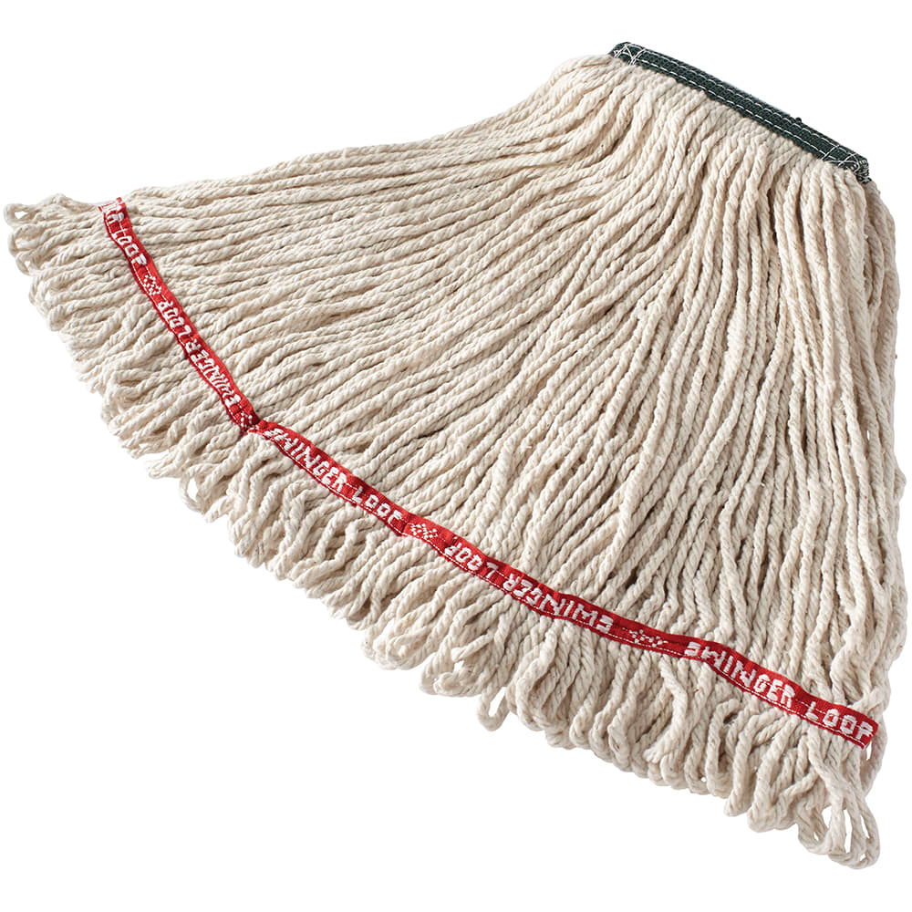 "Rubbermaid FGC11206WH00 Looped-End Medium Wet Mop Head - 1"" Headband, 4-Ply Cotton/Synthetic, White"