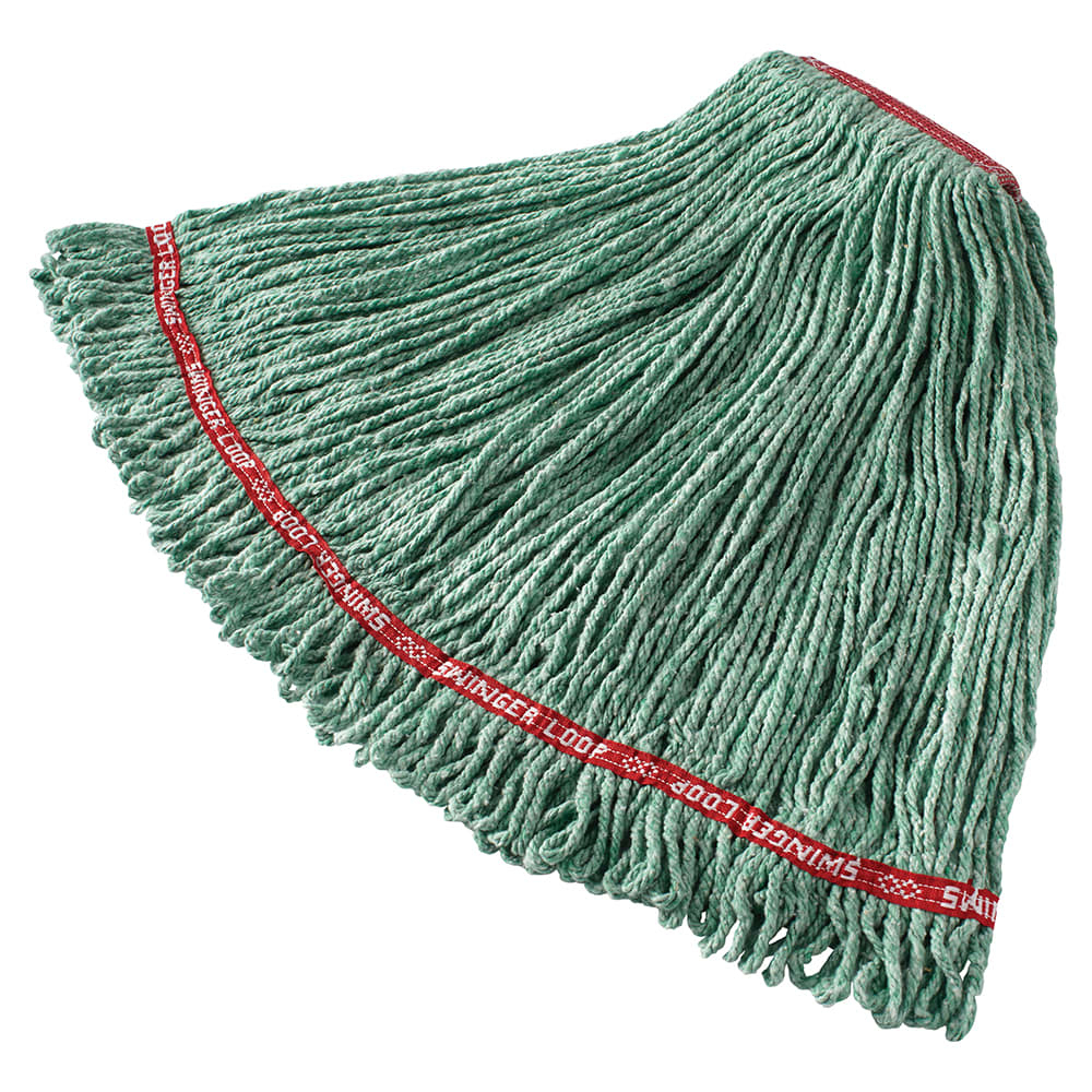 "Rubbermaid FGC11306GR00 Looped-End Large Wet Mop Head - 1"" Headband, 4 Ply Cotton/Synthetic, Green"