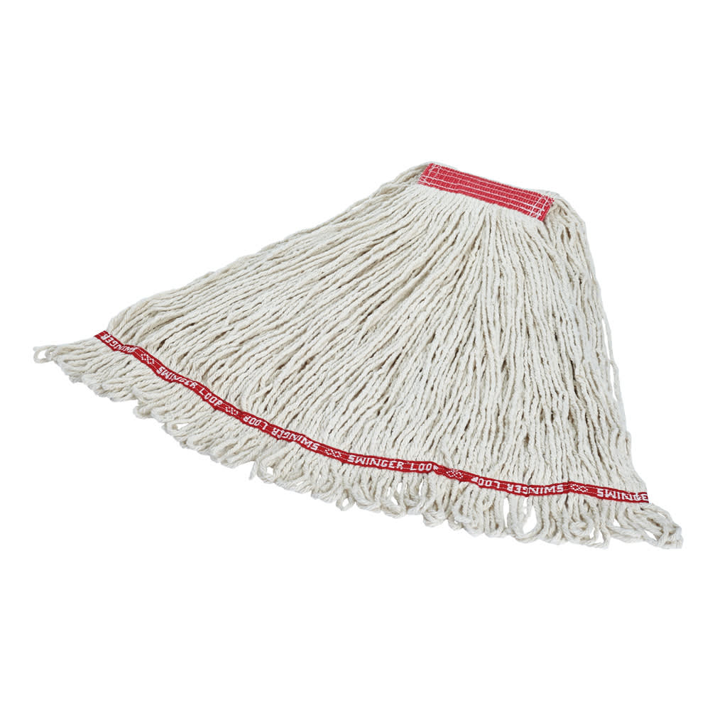 """Rubbermaid FGC11306WH00 Looped-End Large Wet Mop Head - 1"""" Headband, 4 Ply Cotton/Synthetic, White"""
