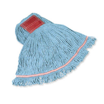 "Rubbermaid FGC15106BL00 Looped-End Small Wet Mop Head - 5"" Headband, 4 Ply Cotton/Synthetic, Blue"