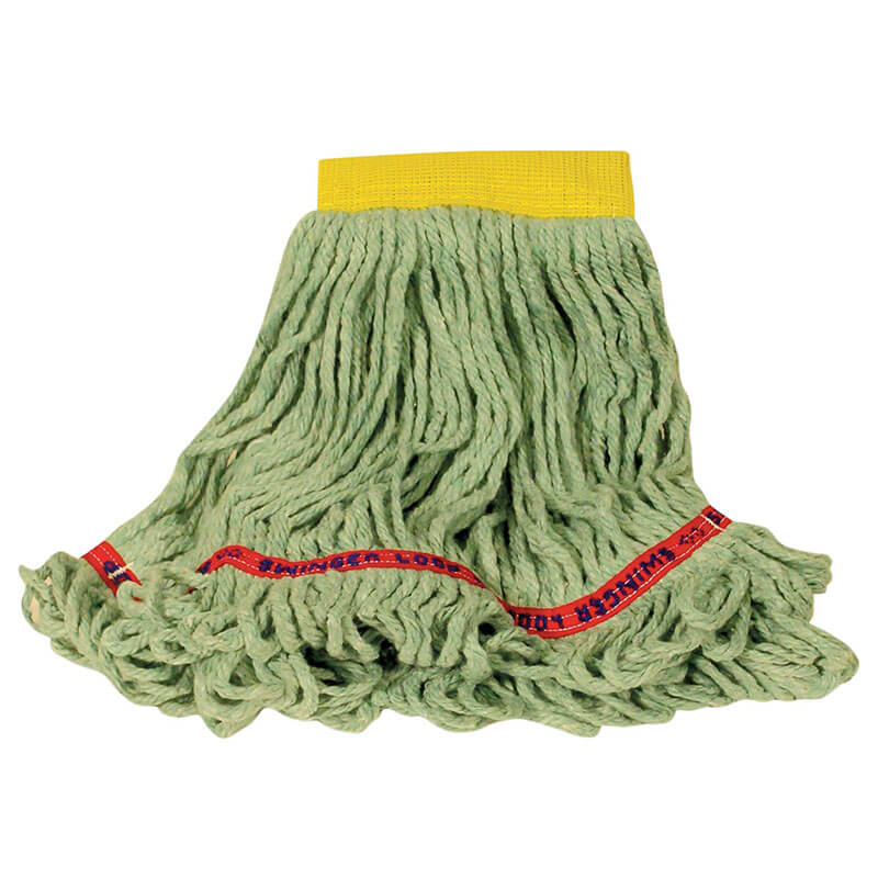 "Rubbermaid FGC15106GR00 Looped-End Small Wet Mop Head - 5"" Headband, 4 Ply Cotton/Synthetic, Green"