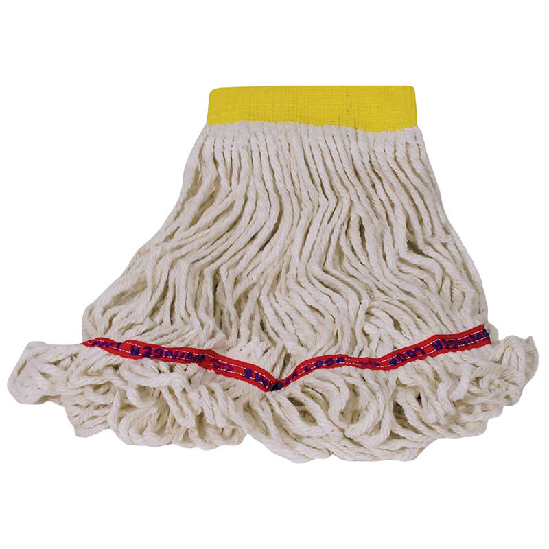 "Rubbermaid FGC15106 WH00 Looped-End Small Wet Mop Head - 5"" Headband, 4-Ply Cotton/Synthetic, White"