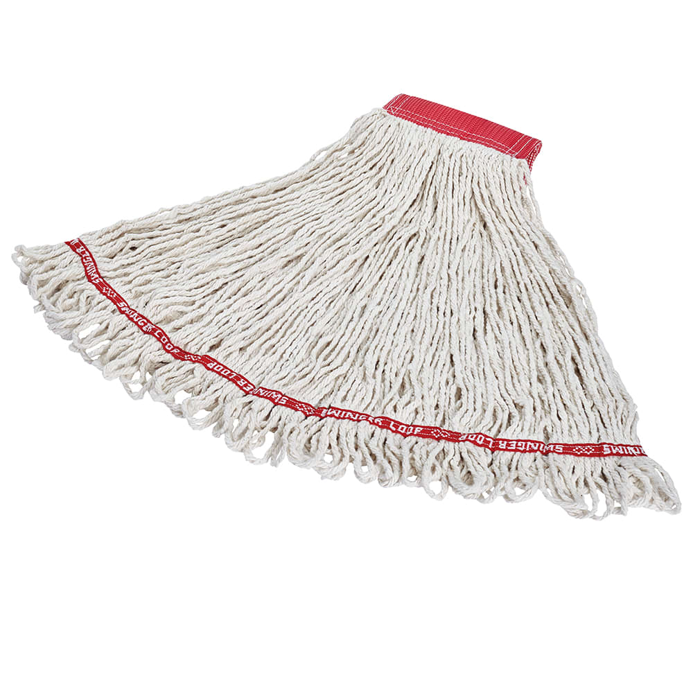 "Rubbermaid FGC15306WH00 Looped-End Large Wet Mop Head - 5"" Headband, 4-Ply Cotton/Synthetic, White"