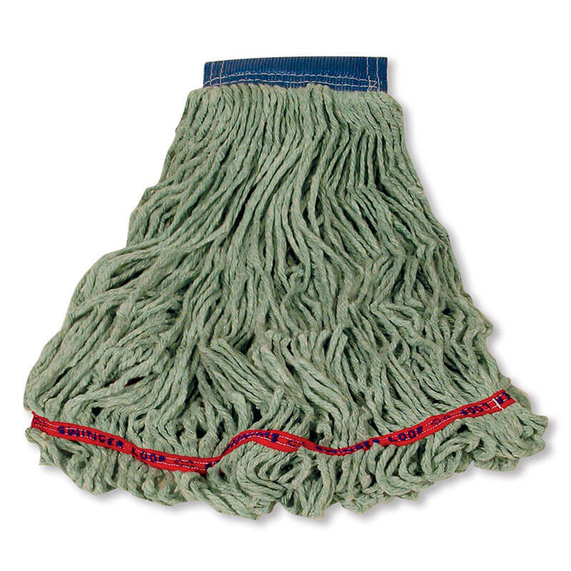 """Rubbermaid FGC15406 GR00 Looped-End X-Large Wet Mop Head - 5"""" Headband, 4-Ply Cotton/Synthetic, Green"""