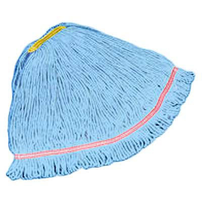 """Rubbermaid FGC21106BL00 Looped-End Small Mop Head - 1"""" Headband, 4 Ply Cotton/Synthetic, Blue"""