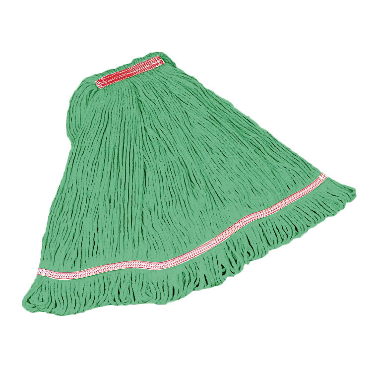 "Rubbermaid FGC21106GR00 Looped-End Small Mop Head - 1"" Headband, 4 Ply Cotton/Synthetic, Green"