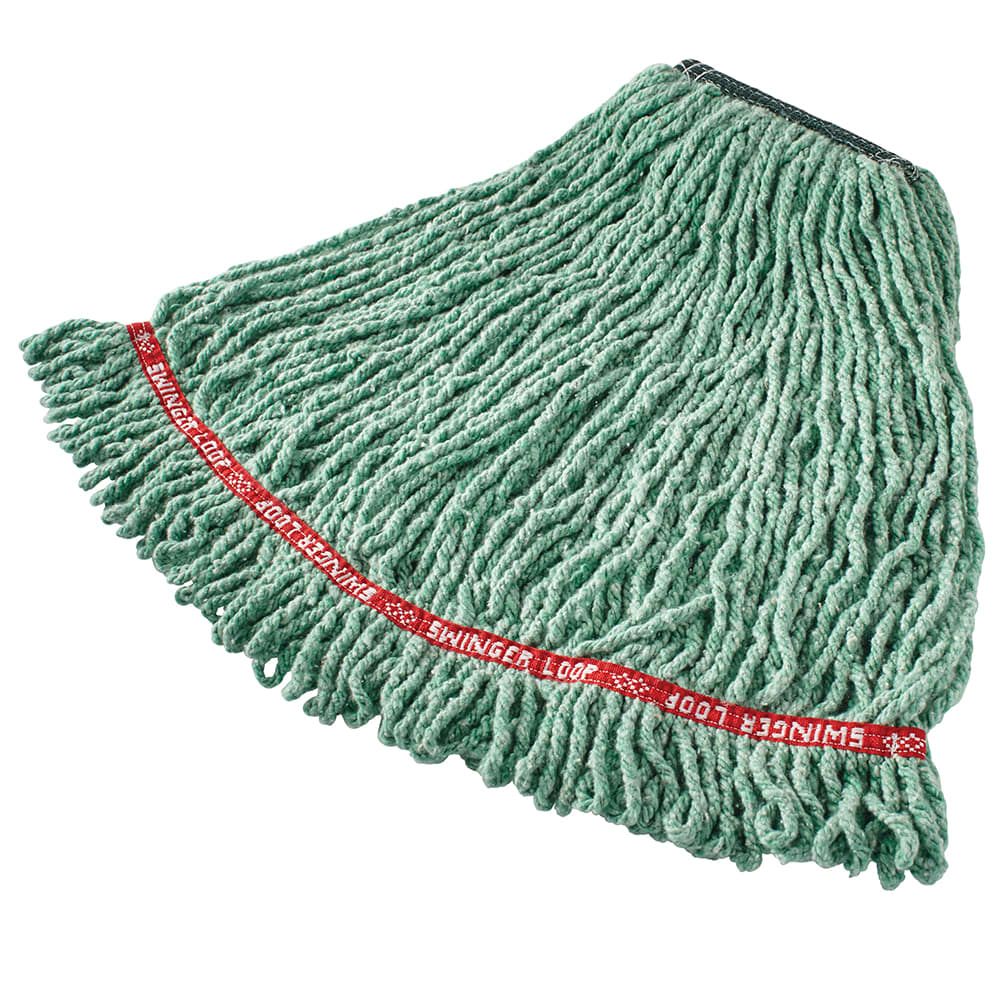 "Rubbermaid FGC21206GR00 Looped-End Medium Mop Head - 1"" Headband, 4 Ply Cotton/Synthetic, Green"