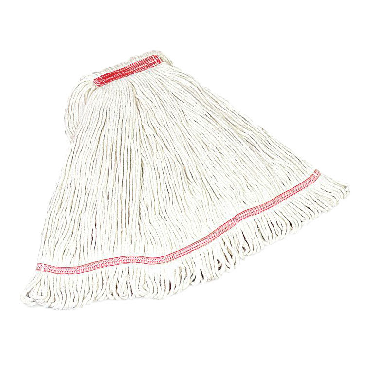 "Rubbermaid FGC25106WH00 Looped-End Small Mop Head - 5"" Headband, 4 Ply Cotton/Synthetic, White"