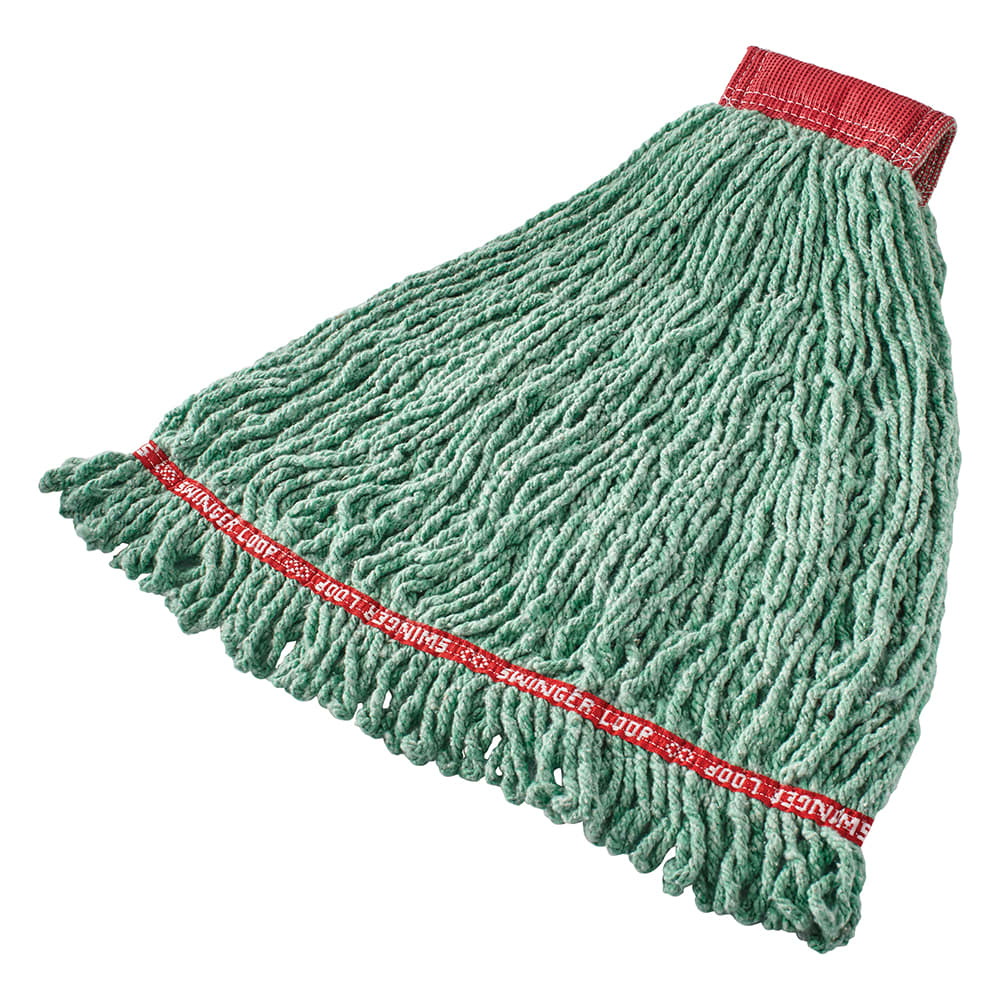 "Rubbermaid FGC25306GR00 Looped-End Large Mop Head - 5"" Headband, 4 Ply Cotton/Synthetic, Green"