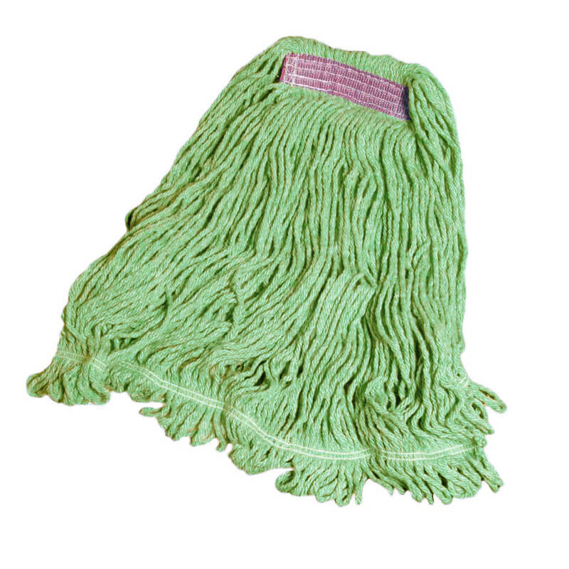 "Rubbermaid FGD21106GR00 Super Stitch Small Mop Head - 1"" Headband, 4-Ply Cotton/Synthetic, Green"