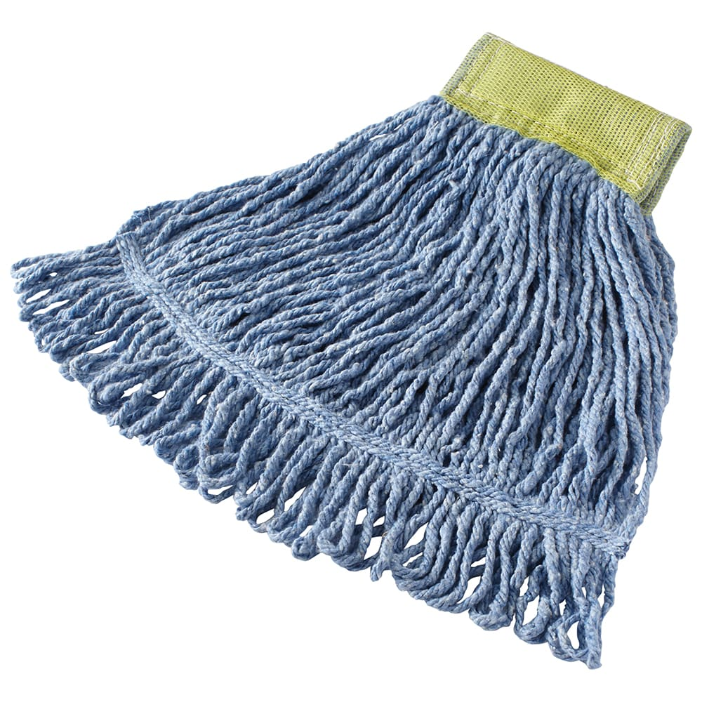 "Rubbermaid FGD25106BL00 Super Stitch Small Mop Head - 5"" Headband, 4 Ply Cotton/Synthetic, Blue"