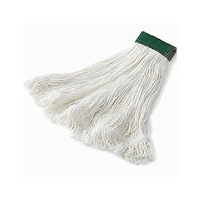 "Rubbermaid FGD45206WH00 Super Stitch Medium Mop Head - 5"" Green Headband, 4-Ply Rayon, White"