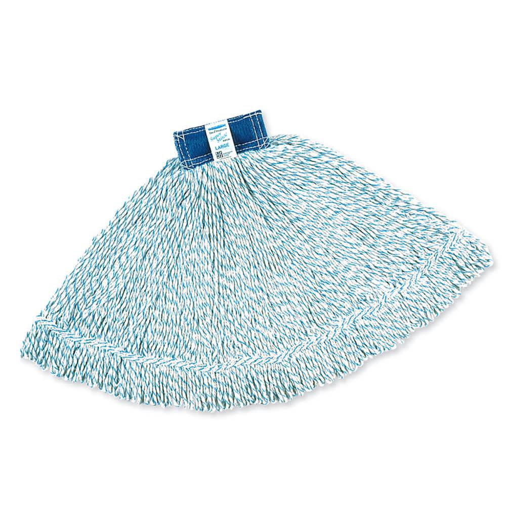 "Rubbermaid FGD51206WH00 Medium Finish Mop Head - 1"" Headband, 4-Ply Yarn, White/Blue Stripe"