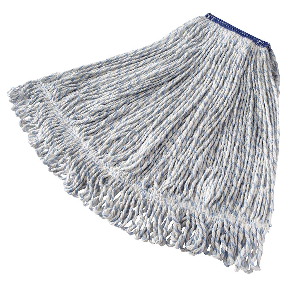 "Rubbermaid FGD51306WH00 Large Finish Mop Head - 1"" Headband, 4 Ply Yarn, White/Blue Stripe"
