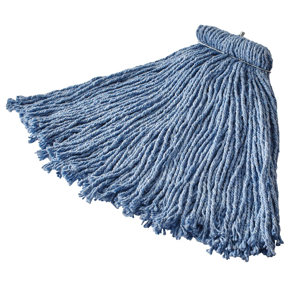 Rubbermaid FGF56600BL00 16-oz Premium Mop Head - Screw-On Head, 4-Ply Cotton/Rayon/Synthetic, Blue