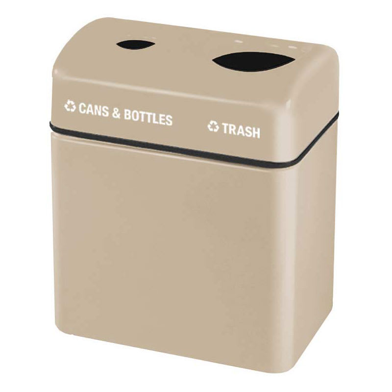 Rubbermaid FGFGR2416TPPLWMB 32-gal Recycling Center - 2-Section, Fiberglass, Warm Brown
