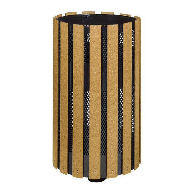 Rubbermaid FGH12SMC 34-gal Outdoor Decorative Trash Can - Metal & Wood, Cedar
