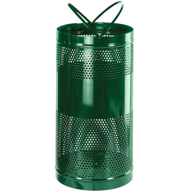 Rubbermaid FGH3EGN 34-gal Outdoor Decorative Trash Can - Metal, Empire Green