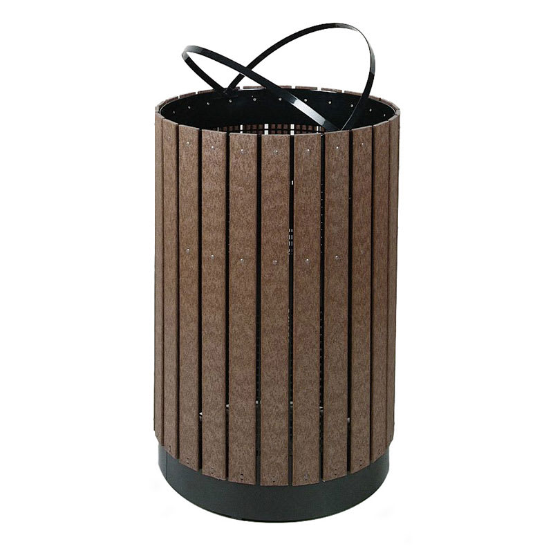 Rubbermaid FGH55C 63-gal Outdoor Decorative Trash Can - Metal & Wood, Empire Green