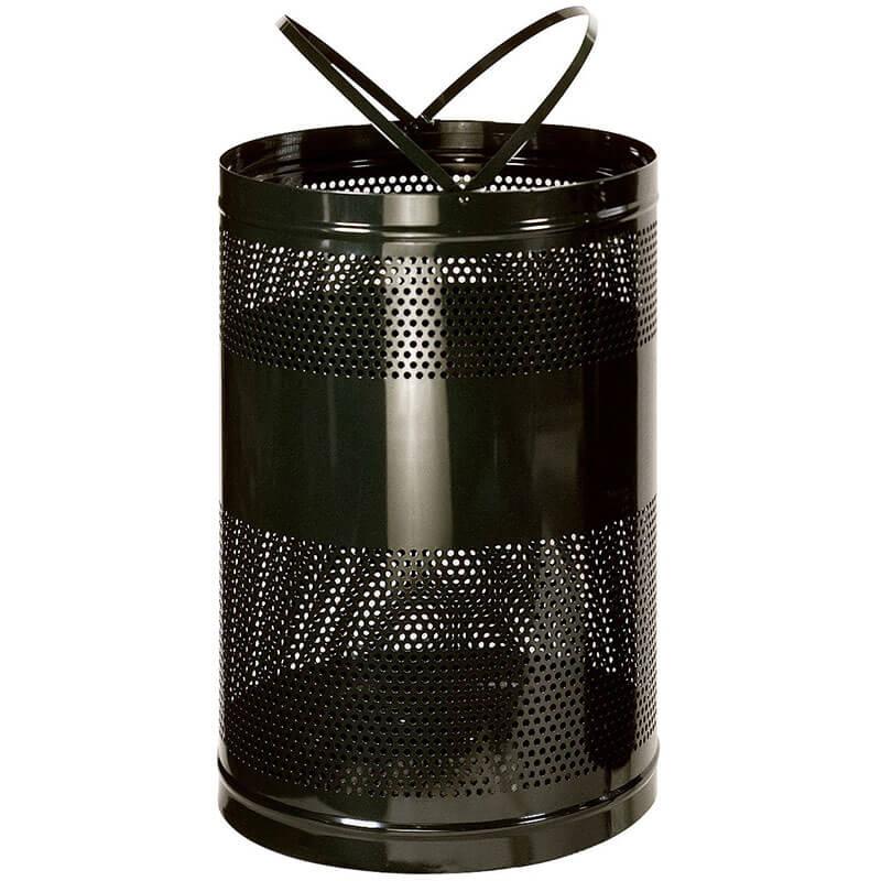 Rubbermaid FGH55EBK 63-gal Outdoor Decorative Trash Can - Metal, Black