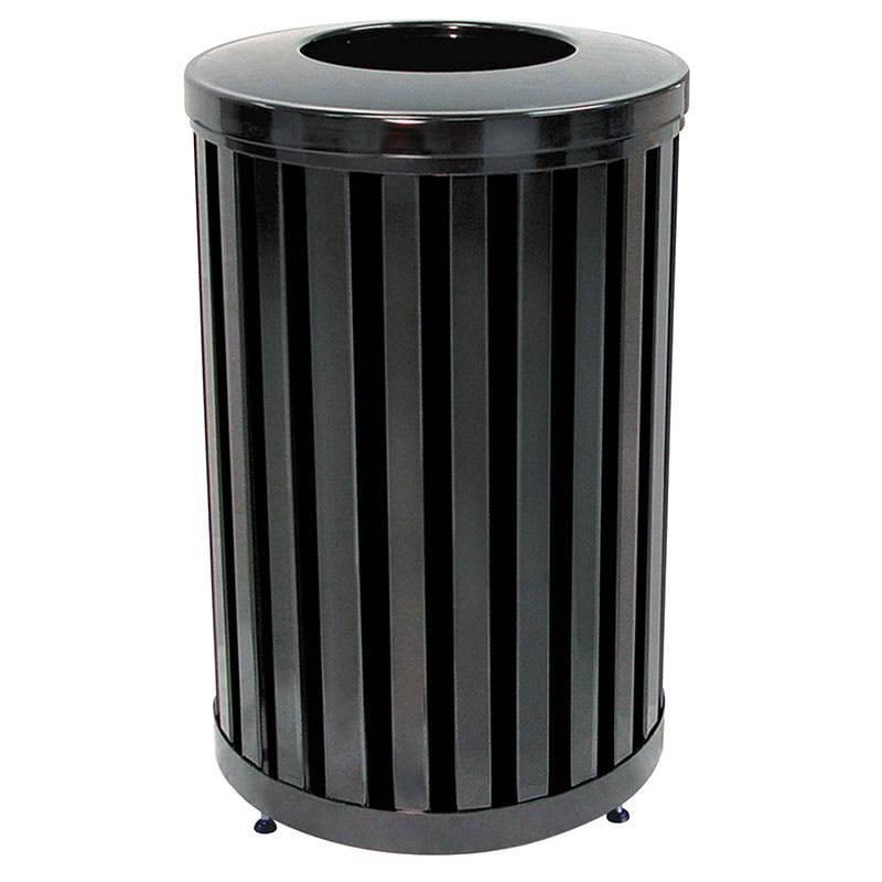 rubbermaid fgmh32plbk 32 gal outdoor decorative trash can metal black. Black Bedroom Furniture Sets. Home Design Ideas