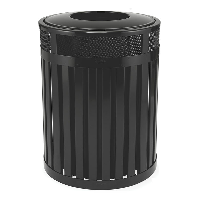 Rubbermaid FGMH46PLBK 46-gal Outdoor Decorative Trash Can - Metal, Black