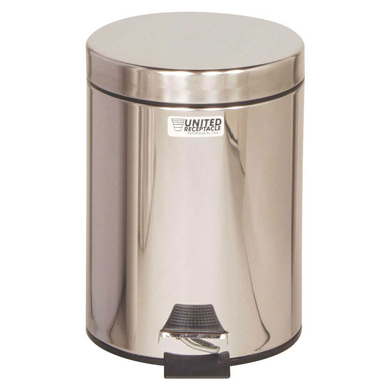 Rubbermaid FGMST15SSPL 1-1/2-gal Medi-Can Step Can - Rigid Plastic Liner, Stainless Steel