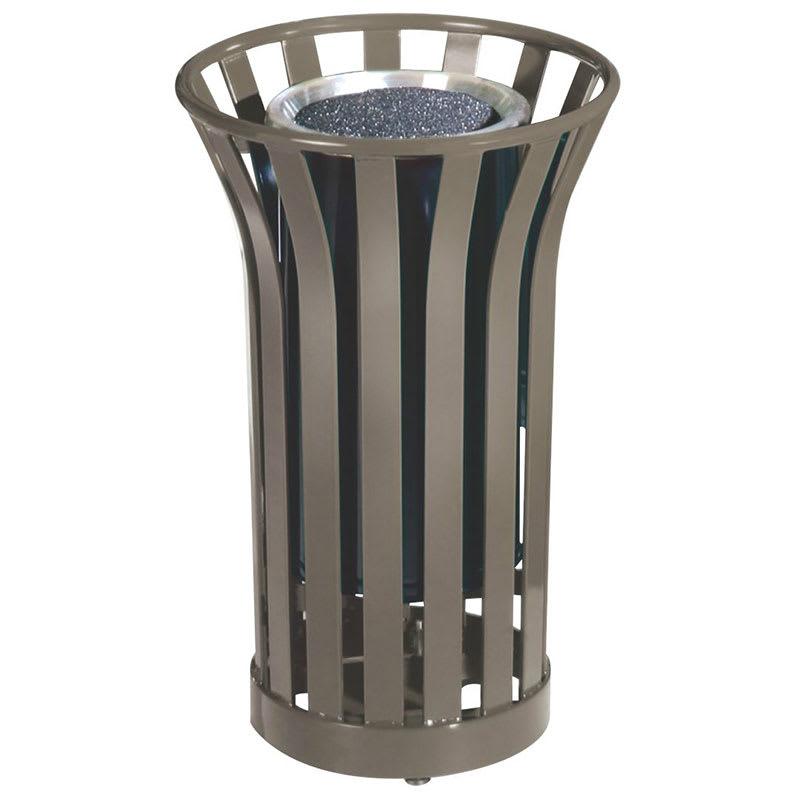 Rubbermaid FGMT12GLABZ 24-gal American Trash Receptacle - Sand Urn Top, Steel Slat, Bronze