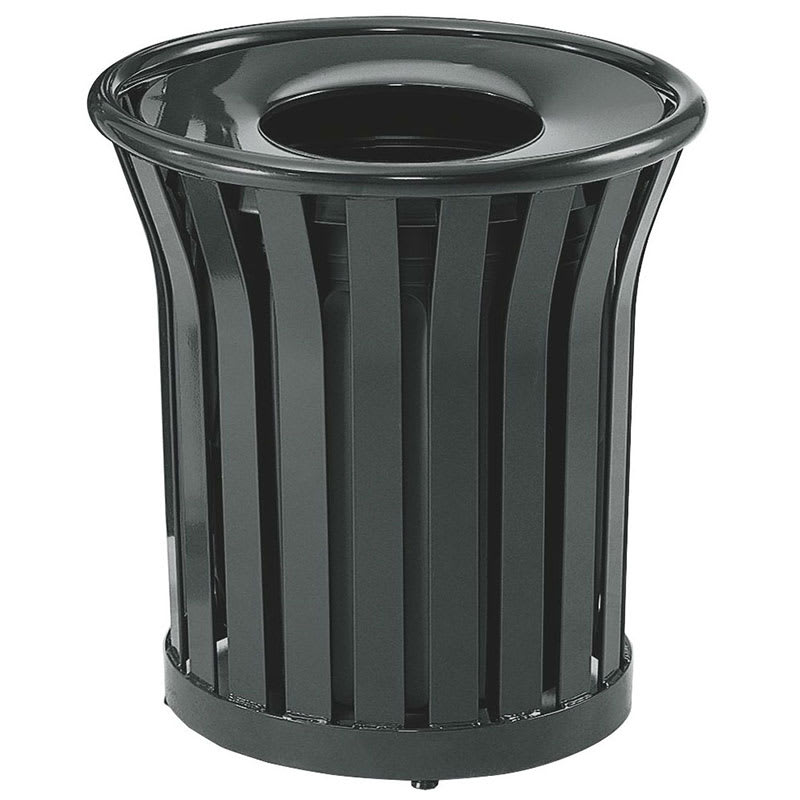 Rubbermaid FGMT22PLBK 24-gal Outdoor Decorative Trash Can - Metal, Black