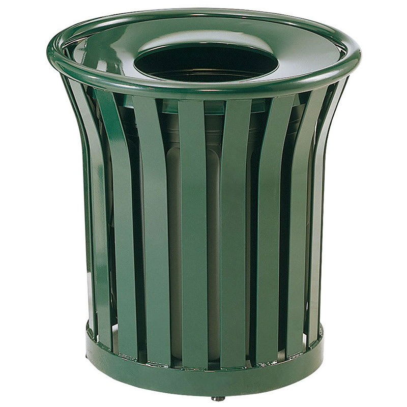 Rubbermaid FGMT22PLVSGN 24-gal Outdoor Decorative Trash Can - Metal, Green