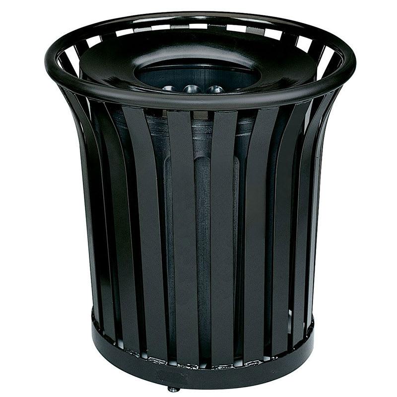 Rubbermaid FGMT32PLBK 36 gal Outdoor Decorative Trash Can - Metal, Black