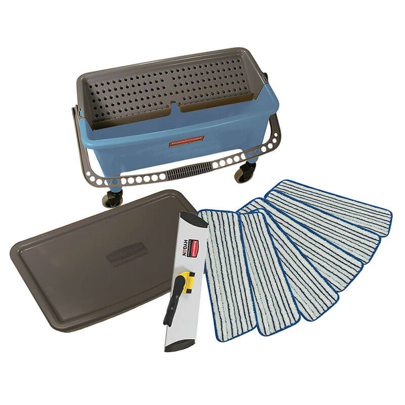 Rubbermaid FGQ050000000 Microfiber Finish Kit w/ Bucket, Frame & Pads