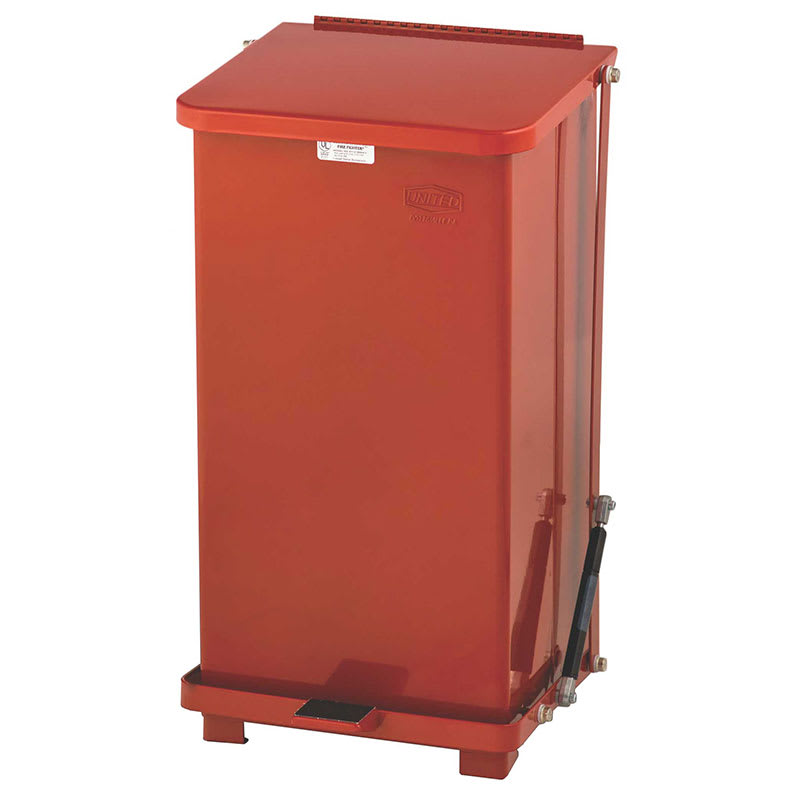 """Rubbermaid FGQST12ERBRD 12-gal Square Metal Step Trash Can, 12""""L x 12""""W x 23""""H, Stainless"""