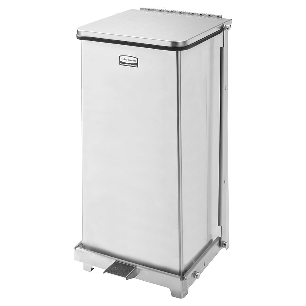 "Rubbermaid FGQST12SSPL 12-gal Square Metal Step Trash Can, 12""L x 12""W x 23""H, Stainless"