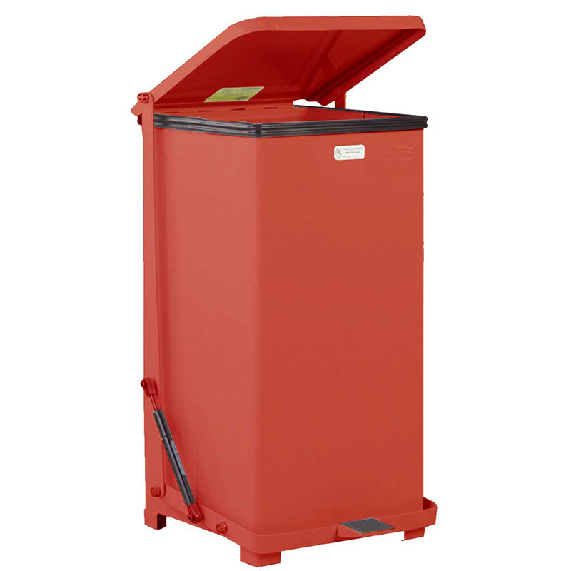 "Rubbermaid FGQST24EPLRD 24-gal Square Metal Step Trash Can, 15""L x 15""W x 30""H, Red"