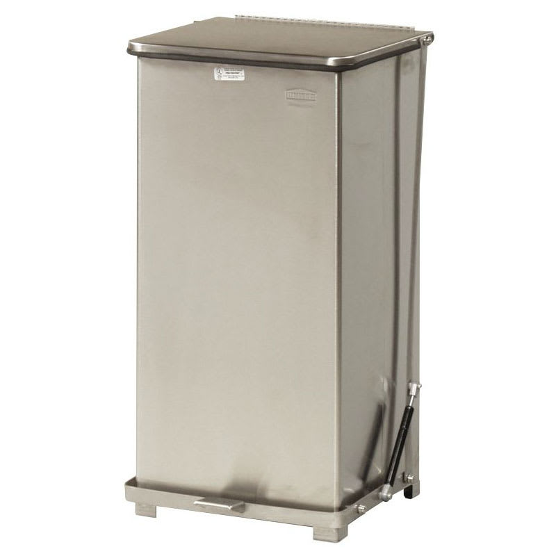 "Rubbermaid FGQST24SSRB 24-gal Square Metal Step Trash Can, 15""L x 15""W x 30""H, Stainless"