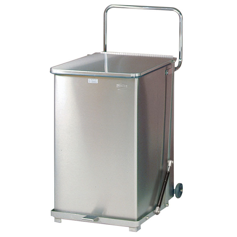 """Rubbermaid FGQST40SWRB 40-gal Square Metal Step Trash Can, 19""""L x 19""""W x 30""""H, Stainless"""