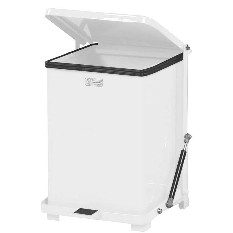 """Rubbermaid FGQST7EPLWH 7-gal Square Metal Step Trash Can, 12""""L x 12""""W x 17""""H, Stainless"""