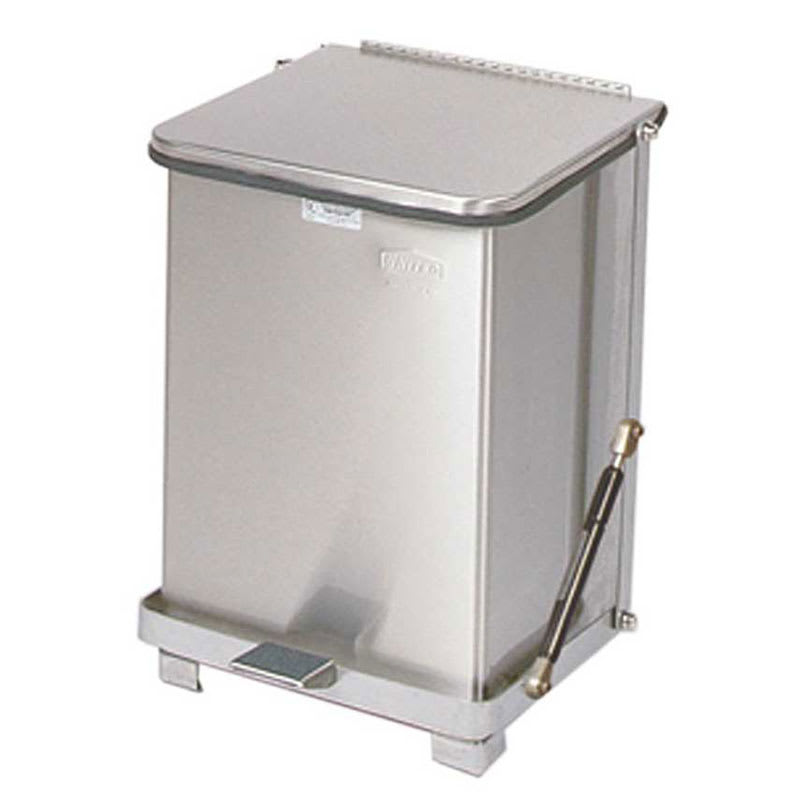 """Rubbermaid FGQST7SSRB 7-gal Square Metal Step Trash Can, 12""""L x 12""""W x 17""""H, Stainless"""