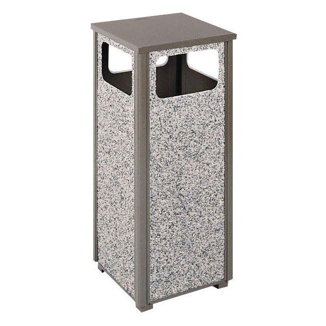 Rubbermaid FGR126000PL 12-gal Outdoor Decorative Trash Can - Metal, Glacier Gray