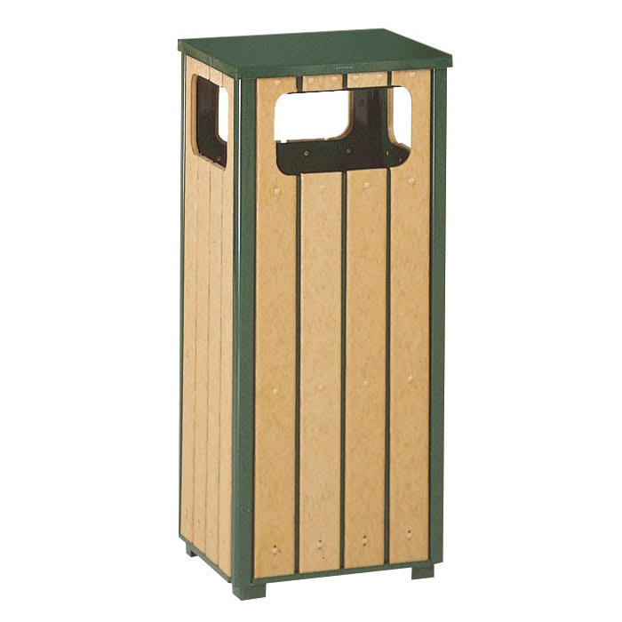 Rubbermaid FGR1450PLEGN 12-gal Indoor/Outdoor Decorative Trash Can - Metal & Wood, Empire Green