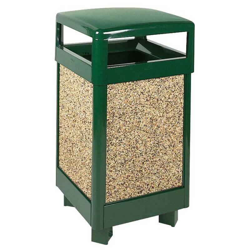 Rubbermaid FGR36HT202PL 29-gal Aspen Waste Receptacle - Hinged Top, Plastic Liner, Desert Brown/Green
