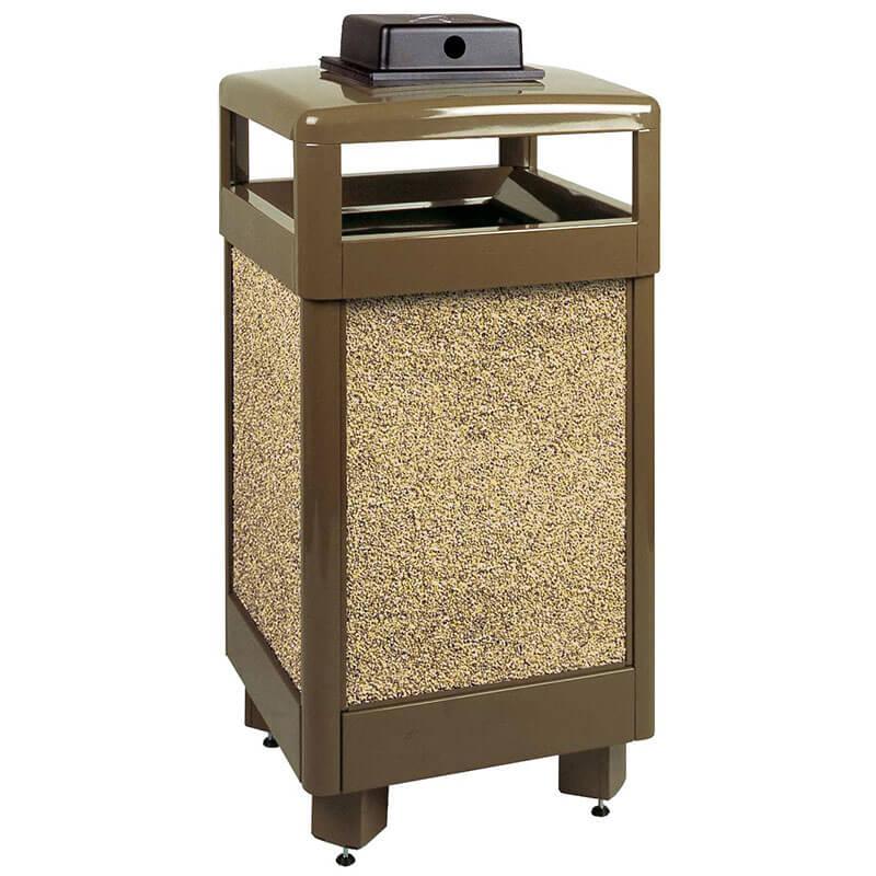 Rubbermaid FGR36HTWU201PL 29-gal Aspen Waste Receptacle - Hinged Top, Desert Brown/Brown