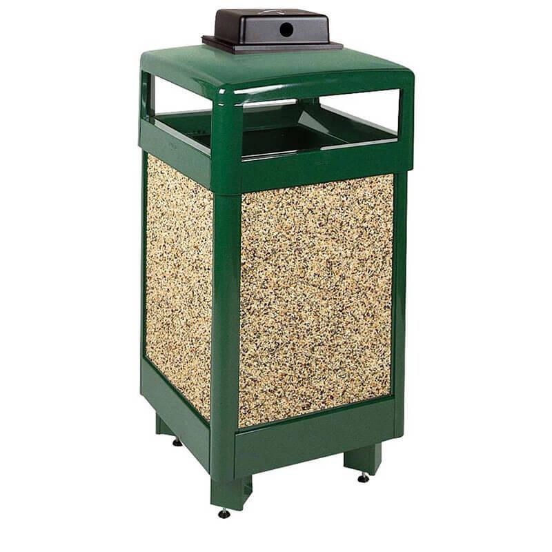 Rubbermaid FGR36HTWU202PL 29-gal Aspen Waste Receptacle - Hinged Top, Desert Brown/Green