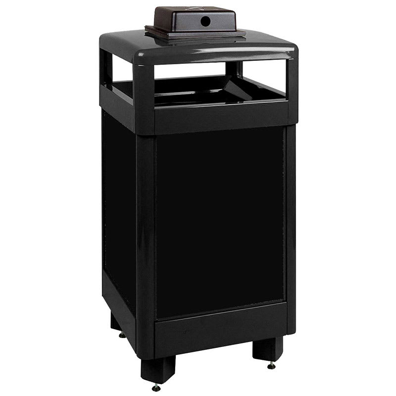 Rubbermaid FGR36HTWUSBKPL 29-gal Aspen Waste Receptacle - Hinged Top, Black