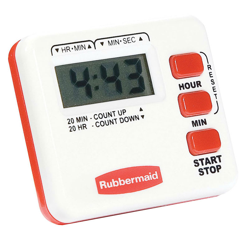 Rubbermaid FGR441188 Compact Digital Timer - 20-hour x 1-minute, Pocket Clip/Stand, Magnetic Back