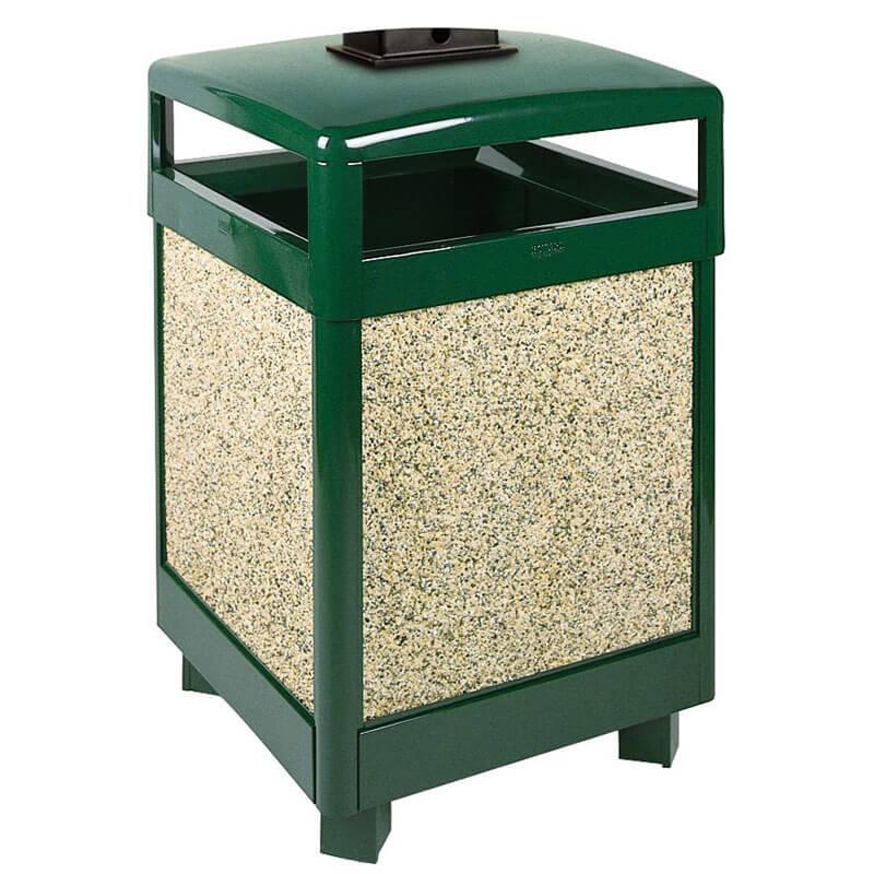 Rubbermaid FGR48HTWU202PL 48-gal Waste Receptacle - Weather Urn, Plastic Liner, Brown Stone/Green