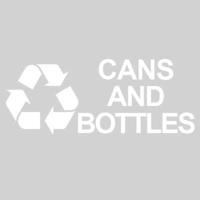 """Rubbermaid FGRDW10 Cans & Bottles"""" Recycle Decal - White Letters/Clear"""